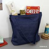 Denim blue - Etudes hobo cotton shoulder tote bag