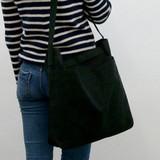 Black - Etudes hobo cotton shoulder tote bag
