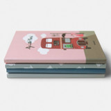 Cute illustration hardcover small lined notebook