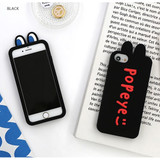 Black - ROMANE Brunch brother popeye silicone case for iPhone 8 7 6s 6