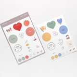 Bonjour hello illustration paper sticker set