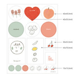 Size of Bonjour hello illustration paper sticker set