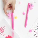 Pink - ROMANE Gummies black gel pen 0.5mm with 0.8mm neon refill