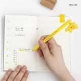 Yellow - ROMANE Gummies black gel pen 0.5mm with 0.8mm neon refill