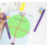 Purple - ROMANE Gummies black gel pen 0.5mm with 0.8mm neon refill