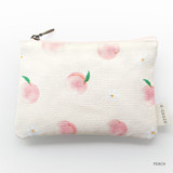 Peach - O-check Pattern small cotton flat zipper pouch