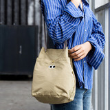 Beige - Som Som durable taslan bucket shoulder bag