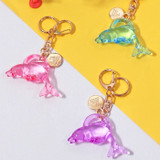 Twinkle dolphine acrylic key ring clip chain holder