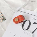Orange - Classic cowhide leather earphones cable winder organizer