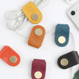Classic cowhide leather earphones cable winder organizer