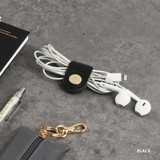 Black - Classic cowhide leather earphones cable winder organizer