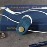 Turkey blue - Classic cowhide leather earphones cable winder organizer