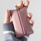 Handy size - Classic cowhide leather small zipper pocket with key ring