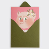 SOSOMOONGOO Piggy smile folding card and envelope set