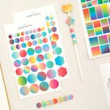 Color palette gradation deco sticker set of 10 sheets