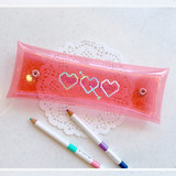 N.IVY Simple heart glitter folding pencil case