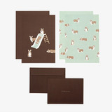 Composition - Daily letter paper and envelope set - Welsh corgi