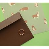 Dailylike Daily letter paper and envelope set - Welsh corgi