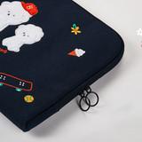 Double zippered closure - boucle canvas iPad laptop pouch case