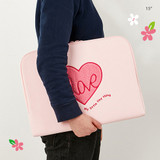 15 inch - Pink heart boucle canvas iPad laptop pouch case