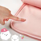 Inner faux fur - Pink heart boucle canvas iPad laptop pouch case