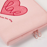 Double zippered closure - Pink heart boucle canvas iPad laptop pouch case