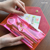 Neon pink - Feel so good shine pencil case pouch with pencil cap