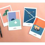 CommaB analog and modern illustration postcard