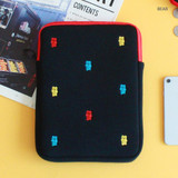 Bear - Tailorbird embroidered tablet PC iPad zip pouch ver4