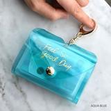 Aqua blue - Feel so good shine card case book with key ring