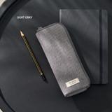 Light gray - Oxford half zip around pocket pencil pouch
