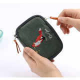 Zipper pouch - Wanna This Tailorbird embroidered handy pouch bag ver3