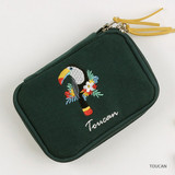 Toucan - Wanna This Tailorbird embroidered handy pouch bag ver3