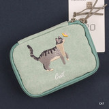 Cat - Wanna This Tailorbird embroidered handy pouch bag ver3