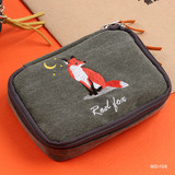 Red fox - Wanna This Tailorbird embroidered handy pouch bag ver3