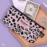 Pink - Second Mansion Bonjour leopard zipper pencil pen case pouch