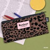 Brown - Second Mansion Bonjour leopard zipper pencil pen case pouch