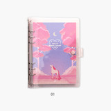 01 - Second Mansion Moonlight 6-ring A5 size grid notebook