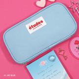 Sky blue - Second Mansion Etudes zip around fabric pencil case pouch
