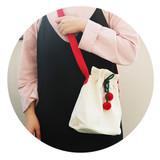 Ivory - ROMANE Cherry cotton crossbody bucket bag