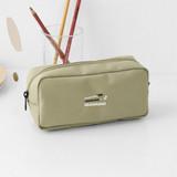 Beige - 2NUL Bulky zipper pencil case pen pouch