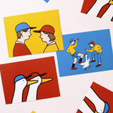 Jam Studio Boy and girl message postcard with envelope