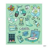 Mint - Pop illustration colorful point paper deco sticker ver2