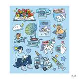 Blue - Pop illustration colorful point paper deco sticker ver2