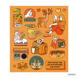Orange - Pop illustration colorful point paper deco sticker ver2