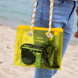 Example of use - 2NUL Aloha holidays yellow small beach shoulder bag