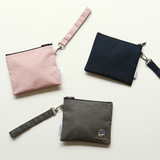 Dailylike Oxford cotton flat zipper pouch with a strap