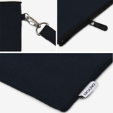 Evening navy - Dailylike Oxford cotton flat zipper  pouch with a strap