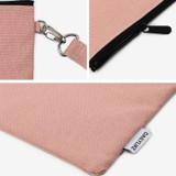 Indi pink - Dailylike Oxford cotton flat zipper pouch with a strap