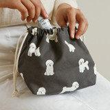 Example of use - Dailylike Bichon Frise soft oxford cotton bucket drawstring pouch